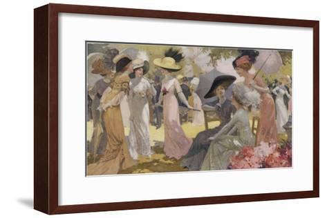 Fashionable Ladies at a Paris Garden Party--Framed Art Print