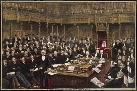 Gladstone Delivers His Last Speech in the House of Commons--Stretched Canvas Print