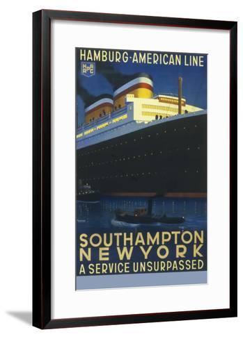 Hamburg American Line Passenger Ship Poster--Framed Art Print