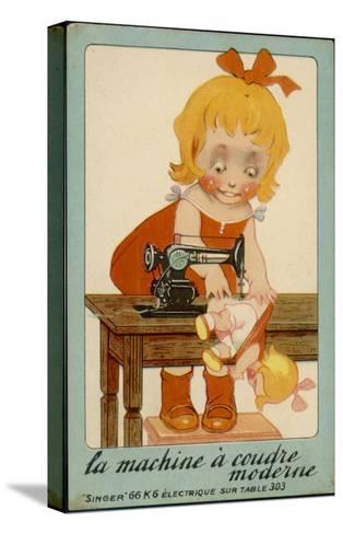 Girls Sews Doll--Stretched Canvas Print