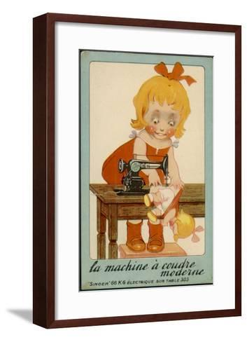 Girls Sews Doll--Framed Art Print
