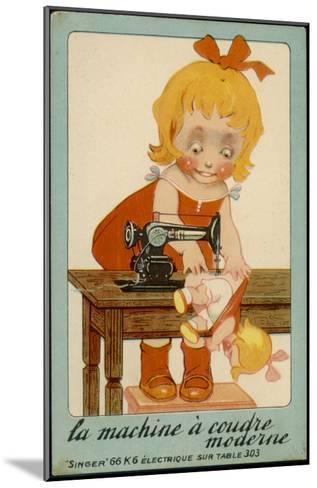 Girls Sews Doll--Mounted Giclee Print
