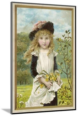 Girl and Daffodils 1880s--Mounted Giclee Print