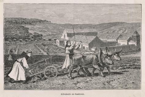German Monks Farming--Stretched Canvas Print