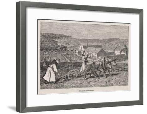German Monks Farming--Framed Art Print