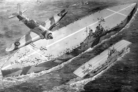 HMS 'Habbakuk' with HMS 'Indefatigable', 1946--Stretched Canvas Print