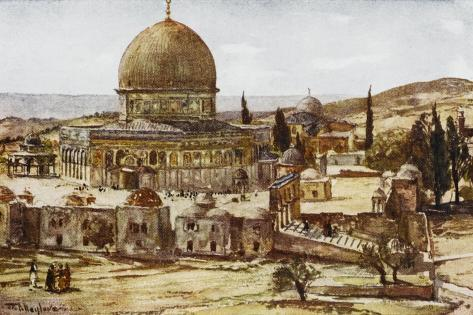 Jerusalem: Mosque of Omar (Dome of the Rock)--Stretched Canvas Print