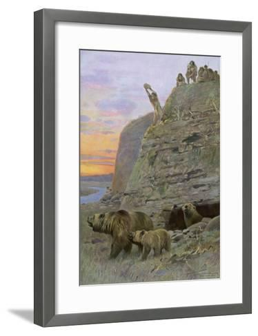 Hunters Attack a Family of Cave-Bears, Hoping to Take over their Home and Become Cave-Men--Framed Art Print