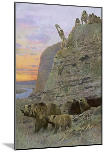 Hunters Attack a Family of Cave-Bears, Hoping to Take over their Home and Become Cave-Men--Mounted Giclee Print