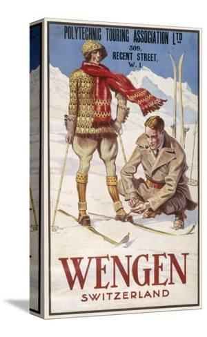 Holiday Poster for Wengen in Switzerland Showing a Couple Skiing--Stretched Canvas Print
