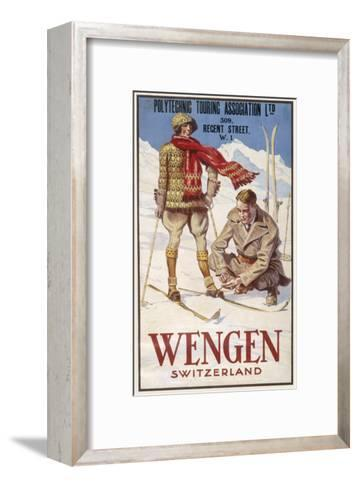 Holiday Poster for Wengen in Switzerland Showing a Couple Skiing--Framed Art Print