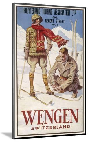 Holiday Poster for Wengen in Switzerland Showing a Couple Skiing--Mounted Giclee Print