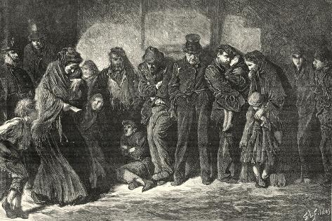 Houseless and Hungry by Luke Fildes-Peter Higginbotham-Stretched Canvas Print