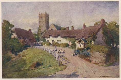 Isle of Wight: Godshill--Stretched Canvas Print
