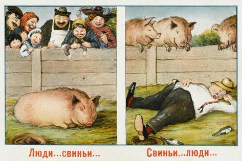 Humourous Russian Postcard--Stretched Canvas Print