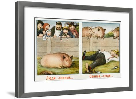 Humourous Russian Postcard--Framed Art Print