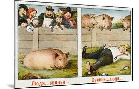 Humourous Russian Postcard--Mounted Giclee Print