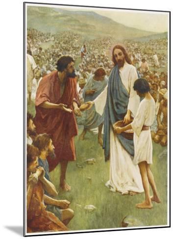 Jesus Feeds 5000--Mounted Giclee Print
