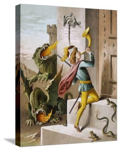 Jack Blows His Horn at the Door of the Giant's Castle--Stretched Canvas Print