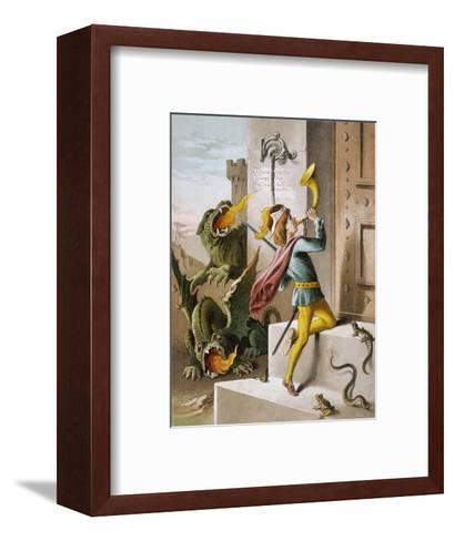 Jack Blows His Horn at the Door of the Giant's Castle--Framed Art Print