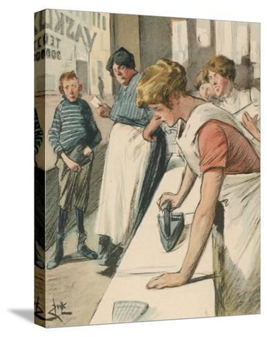 Ironing in the Public Laundry--Stretched Canvas Print