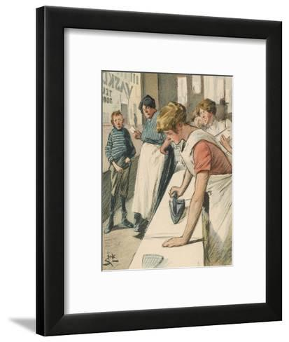 Ironing in the Public Laundry--Framed Art Print
