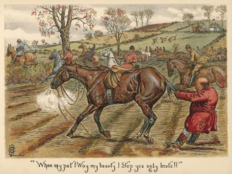 Having Fallen Off His Horse, Mr Popple Grabs it by the Tail to Stop it from Running Away--Stretched Canvas Print