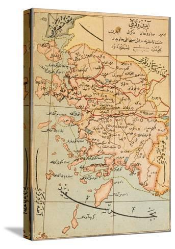 Izmir Region of Turkey - Map--Stretched Canvas Print
