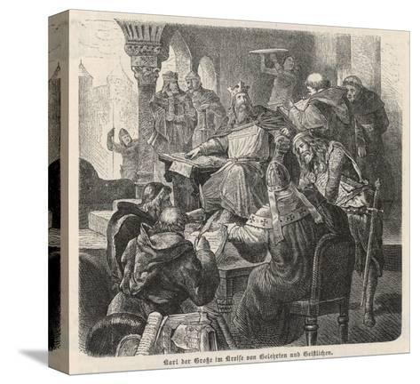 He Confers with Scholars and Clerics : He Is a Great Patron of Learning--Stretched Canvas Print