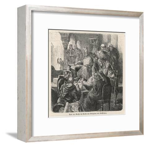 He Confers with Scholars and Clerics : He Is a Great Patron of Learning--Framed Art Print