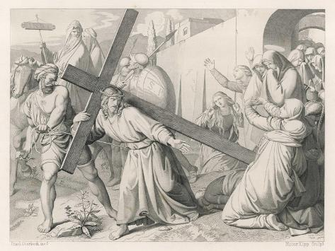 Jesus Carries His Cross--Stretched Canvas Print
