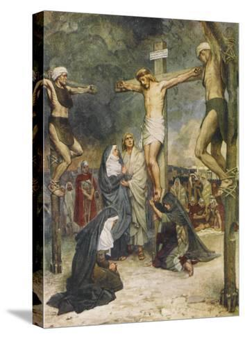 Jesus and Two Other Condemned Criminals on their Crosses--Stretched Canvas Print