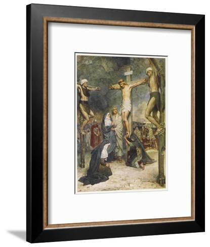 Jesus and Two Other Condemned Criminals on their Crosses--Framed Art Print