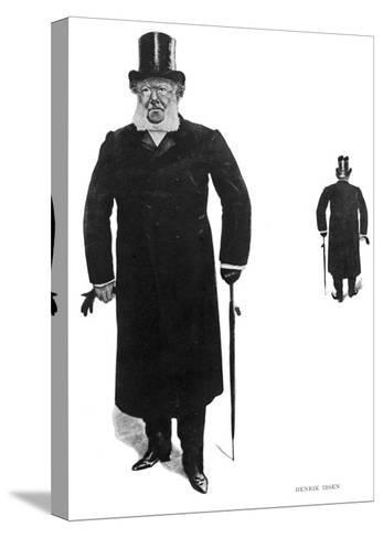 Henrik Ibsen Norwegian Dramatist Taking His Daily Walk--Stretched Canvas Print