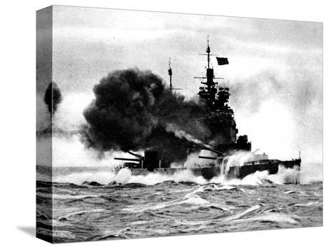 HMS 'Duke of York' Firing a Broadside; Second World War--Stretched Canvas Print