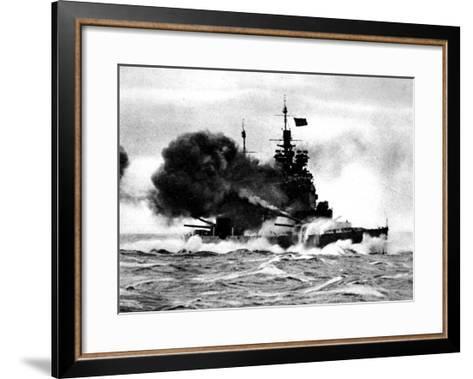 HMS 'Duke of York' Firing a Broadside; Second World War--Framed Art Print