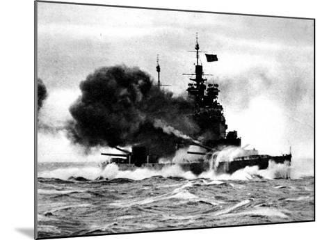 HMS 'Duke of York' Firing a Broadside; Second World War--Mounted Giclee Print