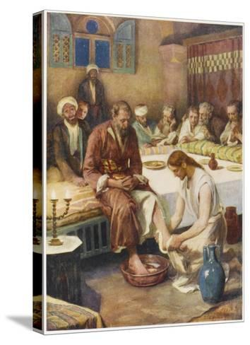 Jesus Washes the Feet of His Disciples--Stretched Canvas Print