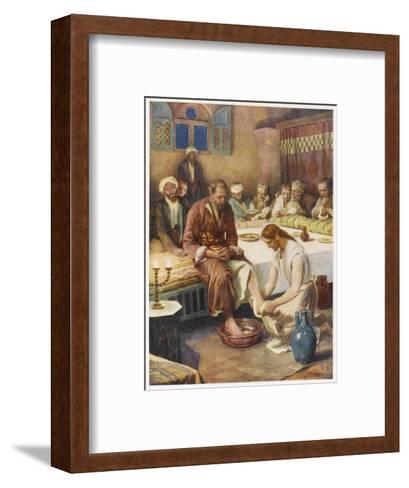 Jesus Washes the Feet of His Disciples--Framed Art Print