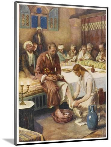 Jesus Washes the Feet of His Disciples--Mounted Giclee Print