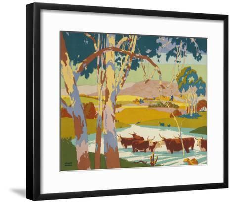 Poster for the Empire Marketing Board, Depicting Cattle Raising in Australia--Framed Art Print