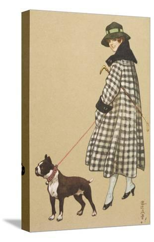 Lady and Boston Terrier--Stretched Canvas Print