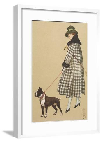 Lady and Boston Terrier--Framed Art Print