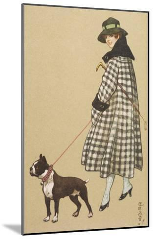 Lady and Boston Terrier--Mounted Giclee Print