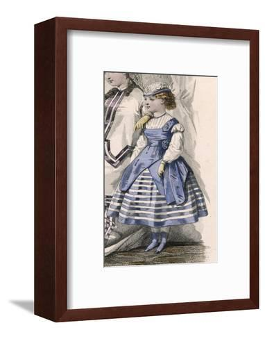 Little Girl in a Fashionable Blue and White Dress--Framed Art Print