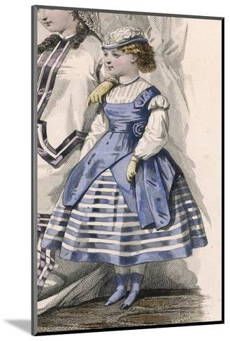 Little Girl in a Fashionable Blue and White Dress--Mounted Giclee Print