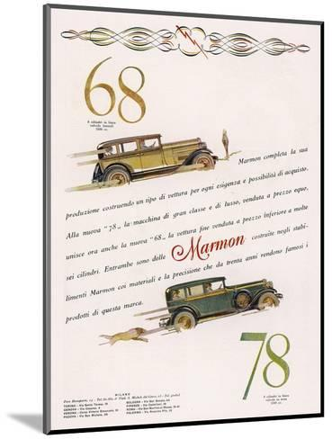 Marmon 68 and 78 Offered to the Discrimating Italian Buyer - a Mafia Godfather, Maybe--Mounted Giclee Print