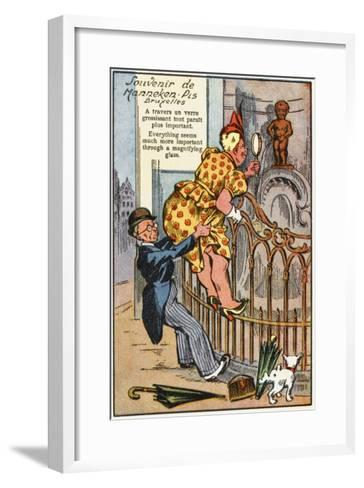 Manneken Pis Postcard Album - Through the Magnifying Glass--Framed Art Print