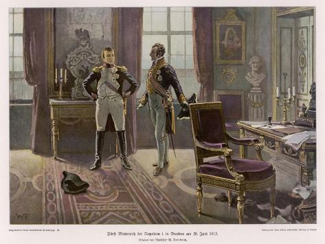 Metternich and Napoleon Confer at Dresden--Stretched Canvas Print