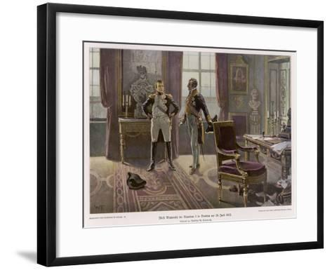 Metternich and Napoleon Confer at Dresden--Framed Art Print